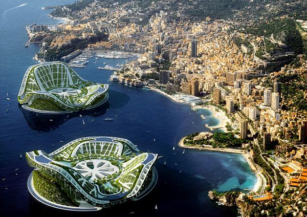 Lilypad - Компютърно генериран модел на Екополиса край бреговете на Княжество Монако.
