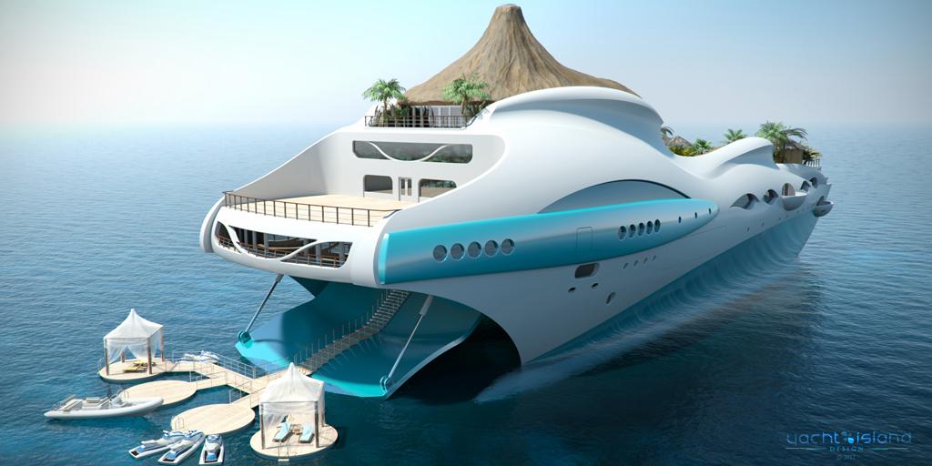 """Яхтата """"Tropical Island"""" - автоматично разгъваща се палуба-плаж"""